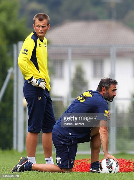 Luca Bucci and Pavol Bajza of FC Parma look on during day fifteen of the FC Parma preseason training camp on July 28 2012 in Levico Terme near Trento...