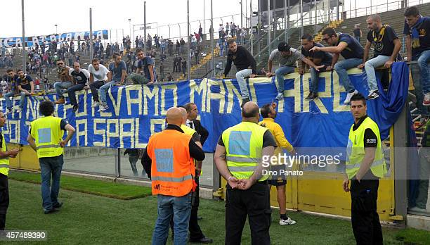 Luca Bucci coach of goalkeepers of Parma speakes with supporters after the Serie A match between Atalanta BC and Parma FC at Stadio Atleti Azzurri...