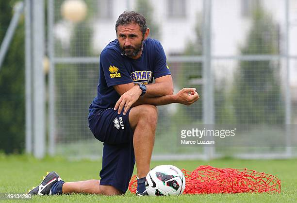 Luca Bucci of FC Parma looks on during day fifteen of the FC Parma preseason training camp on July 28 2012 in Levico Terme near Trento Italy