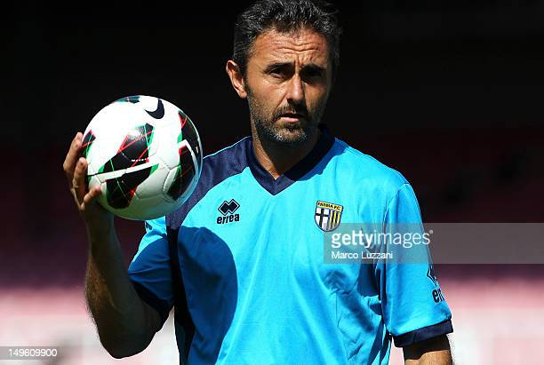Luca Bucci of FC Parma looks on during day one of the Parma FC PreSeason Training Camp at FK Viktoria Stadion on August 1 2012 in Prague Czech...