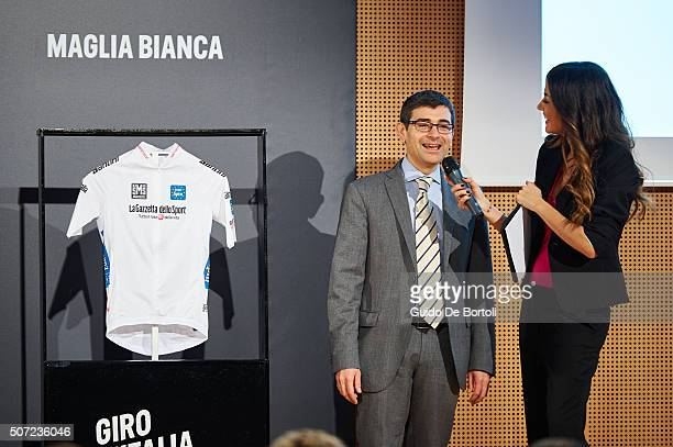 Luca Burgazzoli Marketing Director of Eurospin Italia Spa and Giorgia Palmas attend the Giro D'Italia 2016 jersey unveiling on January 28 2016 in...