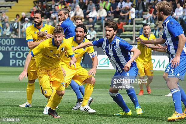 Luca Cacioli and Riccardo Musetti and Alessandro Lucarelli of Parma in action during the Serie D match between Parma Calcio 1913 and Delta Rovigo at...