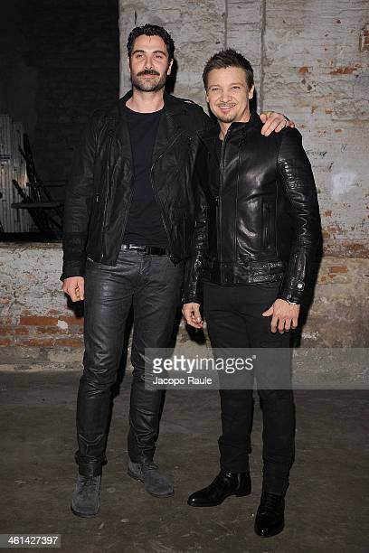 Luca Calvani and actor Jeremy Renner attend Diesel Black Gold fashion show during Pitti Immagine Uomo 85 on January 8 2014 in Florence Italy