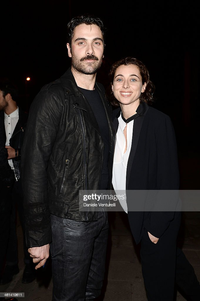 Luca Calvani and Francesca Arena attend Diesel Black Gold during the Pitti Immagine Uomo 85 on January 8, 2014 in Florence, Italy.