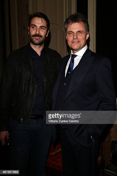 Luca Calvani and Wolfgang Schreiber attend the Bugatti and L'Uomo Vogue 'The magic of la vie en bleu' Collection party as a part of Milan Fashion...
