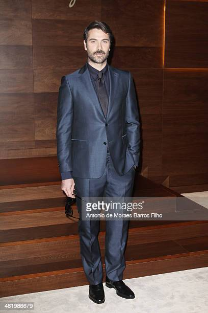 Luca Calvani attends the Ferragamo show as a part of Milan Fashion Week Menswear Autumn/Winter 2014 on January 12 2014 in Milan Italy