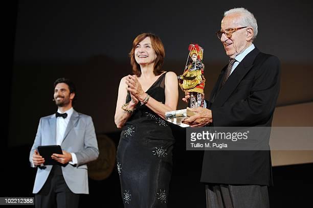 Luca Calvani Deborah Young and Francesco Alliata attend the Taormina Film Fest 2010 Ceremony Awards on June 18 2010 in Taormina Italy