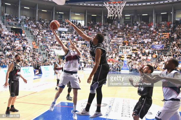 Luca Campogrande of Kontatto competes with Klaudio Ndoja and Kenny Lawson and Marco Spissu of Segafredo during the LegaBasket LNP of serie A2 match...