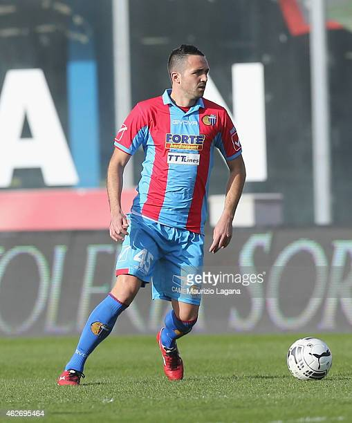 Luca Ceccarelli of Catania during the Serie B match between Calcio Catania and AC Perugia at Stadio Angelo Massimino on January 31 2015 in Catania...