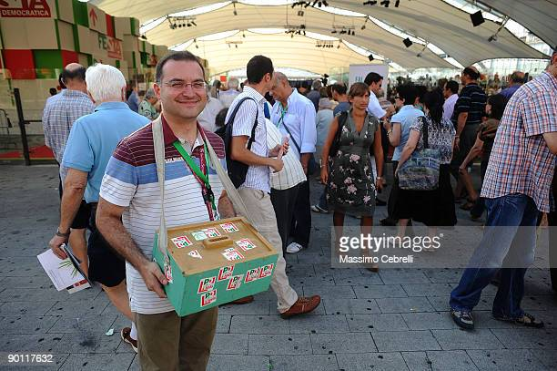 Luca Cesareo raises funds while Pierluigi Bersari candidate to the secretary's office of PD is interviewed by Andrea Montanari journalist RAI at...