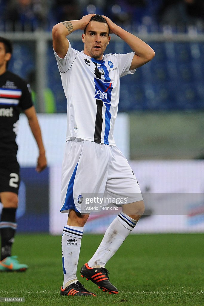 <a gi-track='captionPersonalityLinkClicked' href=/galleries/search?phrase=Luca+Cigarini&family=editorial&specificpeople=3933790 ng-click='$event.stopPropagation()'>Luca Cigarini</a> of Atalanta BC reacts during the Serie A match between UC Sampdoria and Atalanta BC at Stadio Luigi Ferraris on November 4, 2012 in Genoa, Italy.