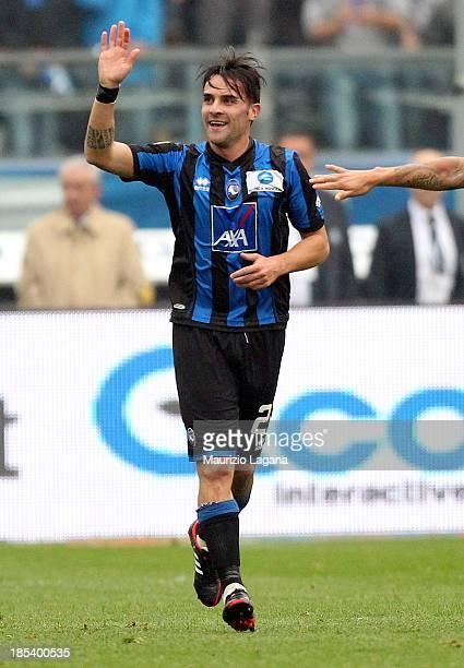 Luca Cigarini of Atalanta celebrates after scoring the opening goal during the Serie A match between Atalanta BC and SS Lazio at Stadio Atleti...