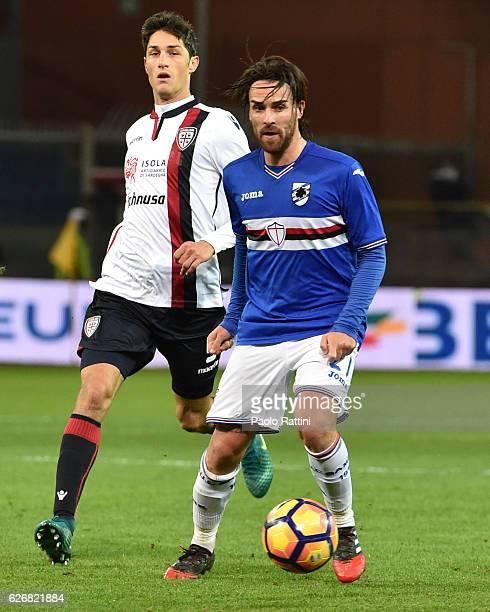 Luca Cigarini of Sampdoria and Federico Melchiorri of Cagliari during the TIM Cup match between UC Sampdoria and Cagliari Calcio at Stadio Luigi...