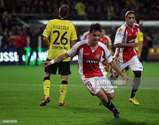 Luca Cigarini of Sevilla celebrates the first goal during the UEFA Europa League group J match between Borussia Dortmund and Sevilla at Signal Iduna...