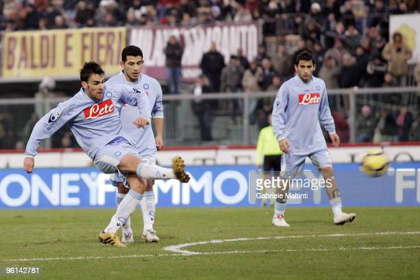 Luca Cigarini of SSC Napoli scores their fist goal during the Serie A match between Livorno and Napoli at Stadio Armando Picchi on January 24 2010 in...