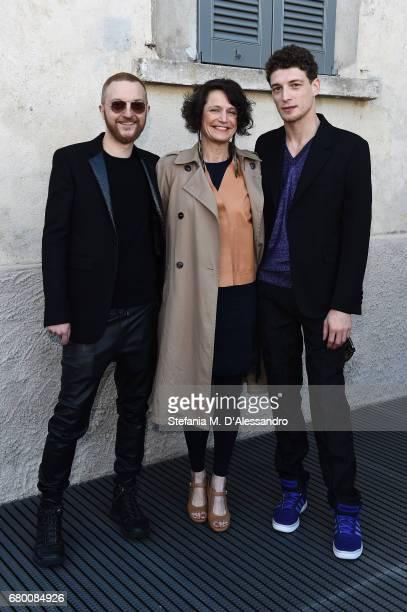 Luca Corbetta Letizia Ragaglia and Filippo Bisagni attend a 'Private view of 'TV 70 Francesco Vezzoli Guarda La Rai' at Fondazione Prada on May 7...
