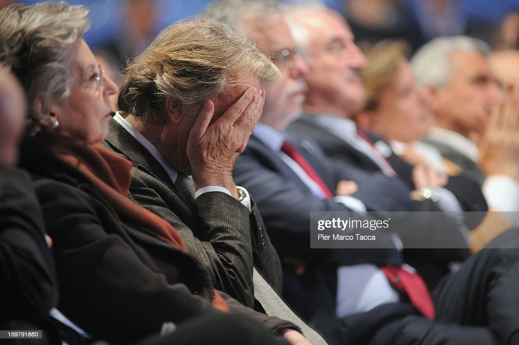 Luca Cordero di Montezemolo (2nd L) attends the convention of Italian Prime Minister Mario Monti's centrist alliance 'With Monti For Italy' (Con Monti Per L'Italia) at Kilometro Rosso on January 20, 2013 in Bergamo, Italy. Monti used the rally to unveil the list of candidates for the 'Civic Choice' (Scelta Civica) movement, a bloc that will form part of the centrist alliance running in February's parliamentary elections.