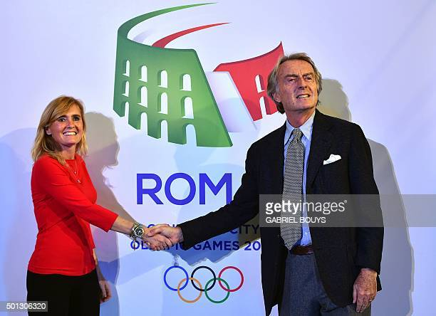 Luca Cordero di Montezemolo Chairman and Diana Bianchedi General director of Rome's bid to host 2024 Olympic Games shake hands after the unveil...