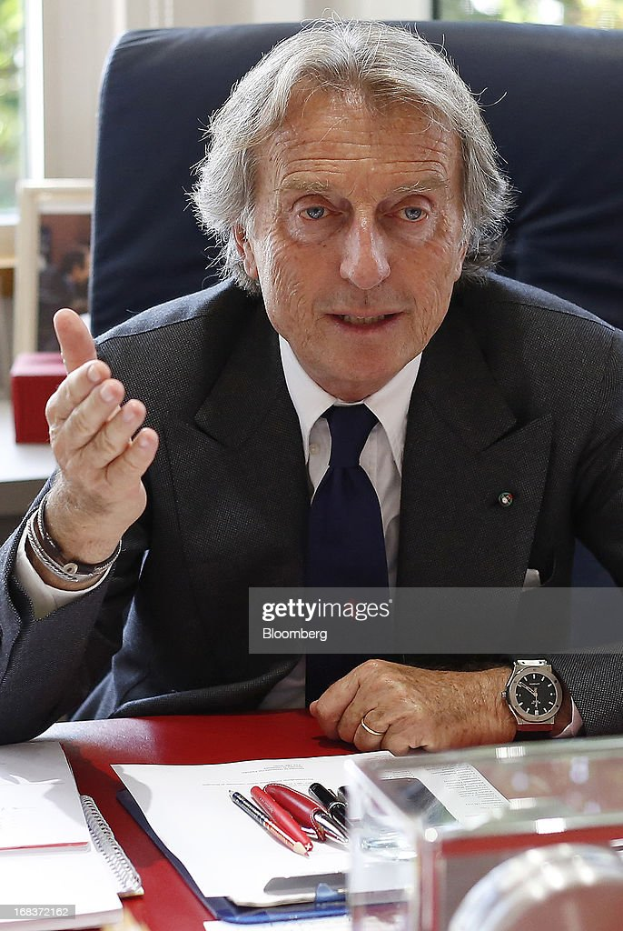 Luca Cordero Di Montezemolo, chairman of Ferrari SpA, gestures during an interview in his office at the Ferrari SpA plant in Maranello, Italy, on Wednesday, May 8, 2013. Ferrari SpA, the Italian supercar manufacturer owned by Fiat SpA, plans to reduce sales to fewer than 7,000 vehicles this year to 'maintain the exclusivity' of the brand. Photographer: Alessia Pierdomenico/Bloomberg via Getty Images