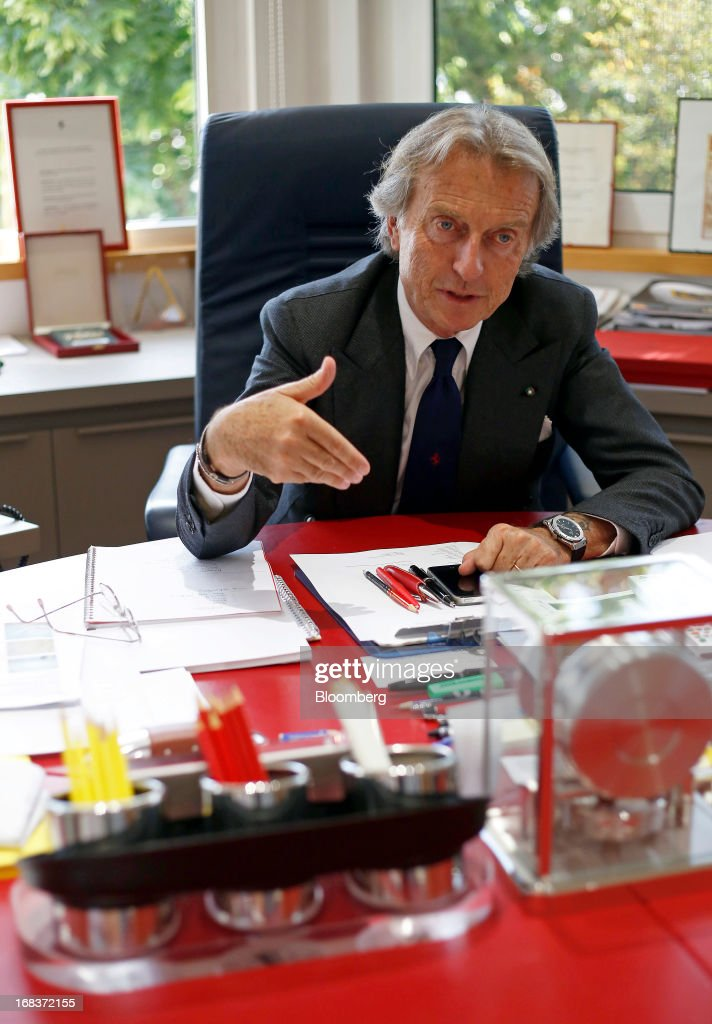 Luca Cordero Di Montezemolo, chairman of Ferrari SpA, speaks during an interview in his office at the Ferrari SpA plant in Maranello, Italy, on Wednesday, May 8, 2013. Ferrari SpA, the Italian supercar manufacturer owned by Fiat SpA, plans to reduce sales to fewer than 7,000 vehicles this year to 'maintain the exclusivity' of the brand. Photographer: Alessia Pierdomenico/Bloomberg via Getty Images