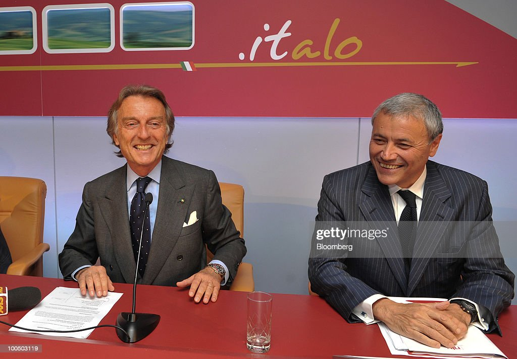 Luca Cordero di Montezemolo, president of Nuovo Trasporto Viaggiatori S.p.A. (NTV), left, and Vincenzo Cannatelli, the company's executive vice-president, react at a news conference at the company's headquarters in Rome, Italy, on Tuesday, May 25, 2010. NTV plans to open a rail service in Italy next summer, using high-speed Alstom AGV trains on the same recently-upgraded tracks currently used by Trenitalia SpA. Photographer: Victor Sokolowicz/Bloomberg via Getty Images