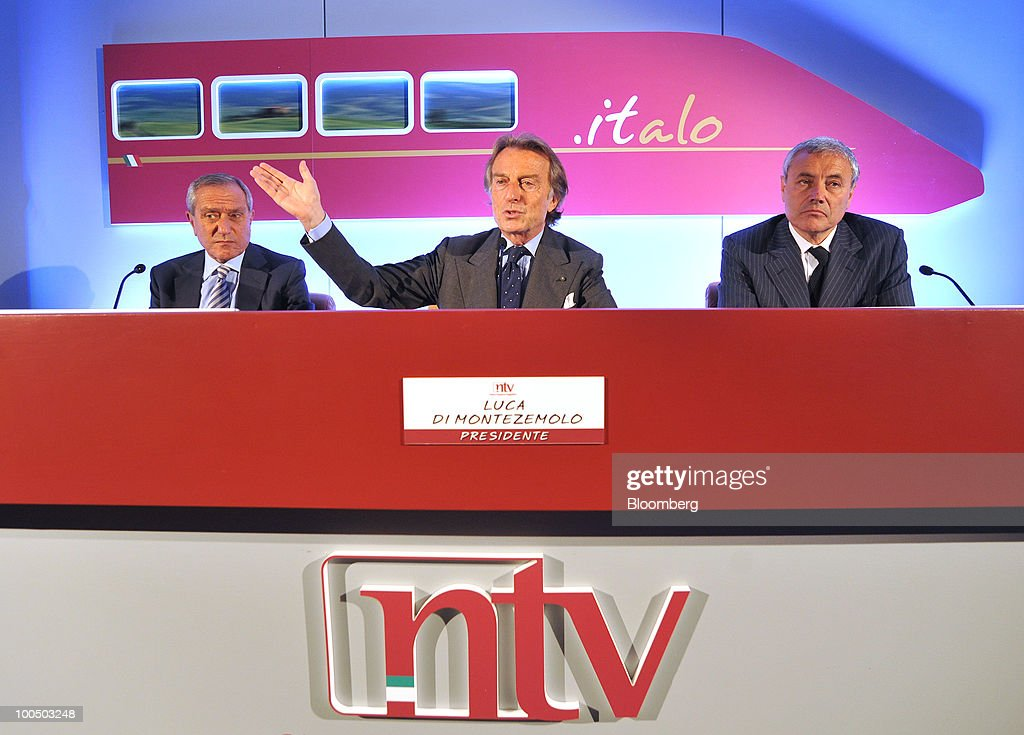Luca Cordero di Montezemolo, president of Nuovo Trasporto Viaggiatori S.p.A. (NTV), center, gestures while speaking as Giuseppe Sciarrone, the company's managing director, left, and Vincenzo Cannatelli, the company's executive vice-president, listen at a news conference at the company's headquarters in Rome, Italy, on Tuesday, May 25, 2010. NTV plans to open a rail service in Italy next summer, using high-speed Alstom AGV trains on the same recently-upgraded tracks currently used by Trenitalia SpA. Photographer: Victor Sokolowicz/Bloomberg via Getty Images