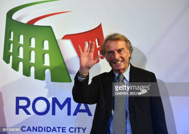 Luca Cordero di Montezemolo Rome's bid chairman for the 2024 Olympics poses after the unveil ceremony of the Rome's logo on December 14 2015 Budapest...
