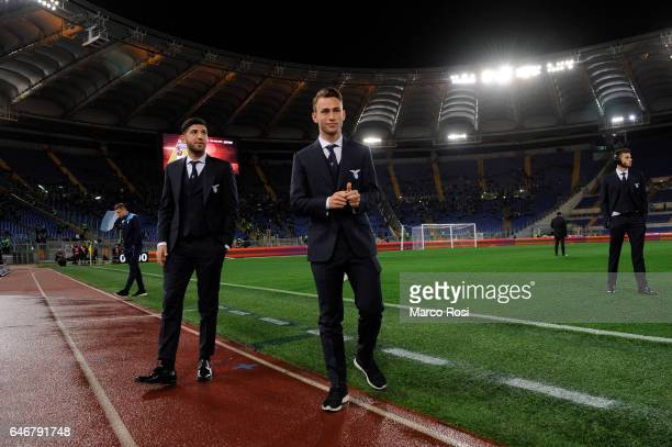 Luca Crecco and Cristiano Lombardi SS Lazio looks on before the TIM Cup match between SS Lazio and AS Roma at Olimpico Stadium on March 1 2017 in...