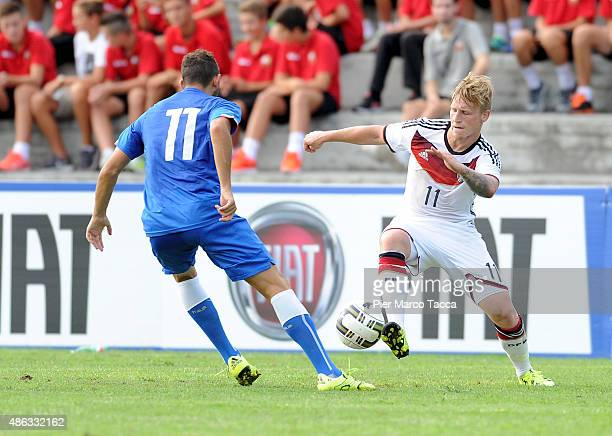 Luca Crecco of Italy competes for the ball with Marvin Stefaniak of Germany during the football match U20 Italy and U20 Germany international...
