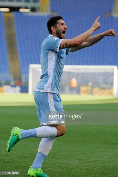 Luca Crecco of SS Lazio celebrates a sixth goal during the Serie A match between SS Lazio and US Citta di Palermo at Stadio Olimpico on April 23 2017...