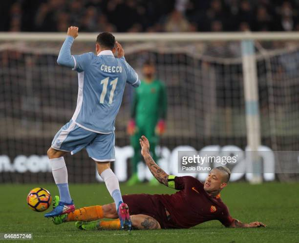 Luca Crecco of SS Lazio competes for the ball with Radja Nainggolan of AS Roma during the TIM Cup match between SS Lazio and AS Roma at Olimpico...
