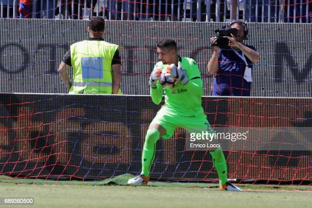 Luca Crosta of Cagliari in action during the Serie A match between Cagliari Calcio and AC Milan at Stadio Sant'Elia on May 28 2017 in Cagliari Italy