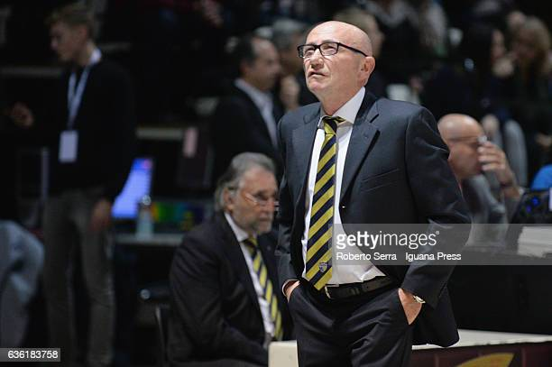 Luca Dalmonte head coach of Tezenis looks over during the match of LNP LegaBasket Serie A2 between Virtus Segafredo Bologna and Scaligera Tezenis...
