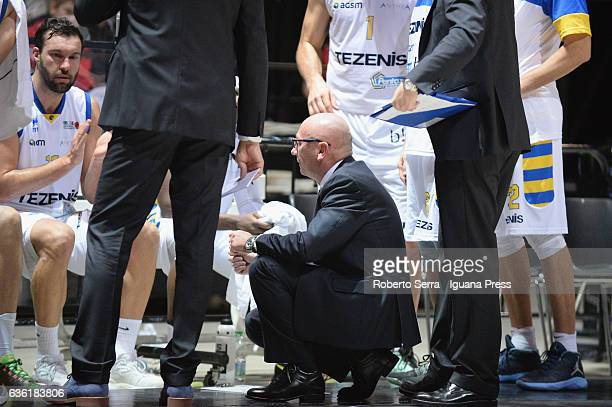Luca Dalmonte head coach of Tezenis talks over during the match of LNP LegaBasket Serie A2 between Virtus Segafredo Bologna and Scaligera Tezenis...