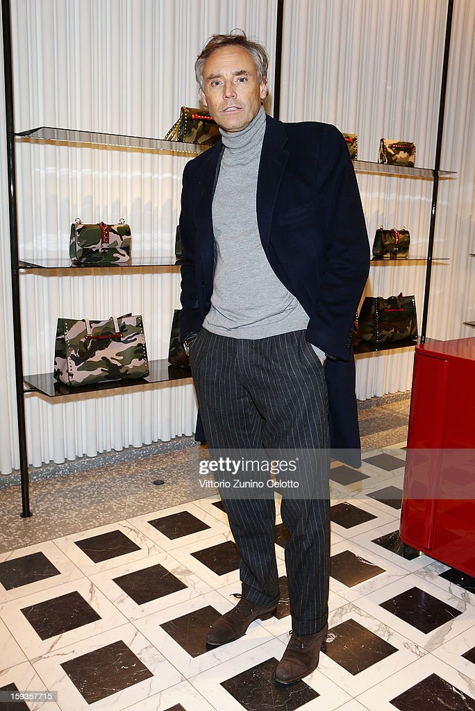 Luca De Ambrosis attends Valentino Cocktail Party as part of Milan Fashion Week Menswear Autumn/Winter 2013 on January 12, 2013 in Milan, Italy.