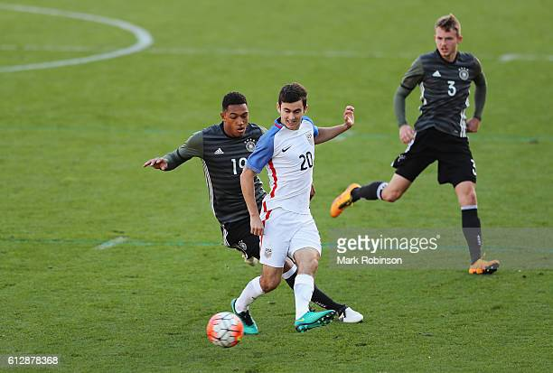 Luca De La Torre of USA is challenged by Anton Donkor of Germany during the Under 20s Four Nations Tournament match between Germany and the United...