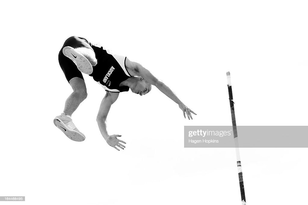 Luca Denee of Auckland warms up for the men's under 20 pole vault during the New Zealand Track and Field Championships at Mt Smart Stadium on March 24, 2013 in Auckland, New Zealand.