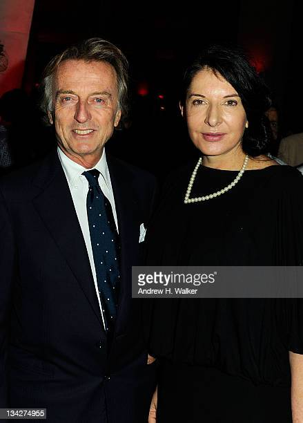 Luca di Montezemolo and Marina Abramovic attend the celebration of Ferrari's chairman Luca di Montezemolo hosted by Interview's Peter M Brant and...