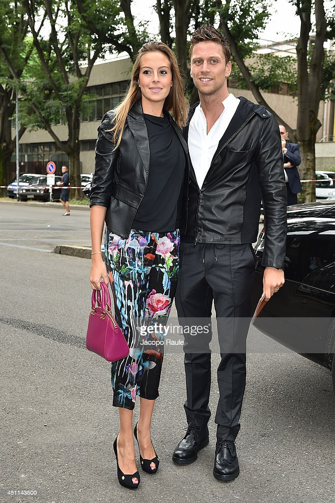 Luca Dotto and Rossella Fiamingo arrive at Giorgio Armani show during Milan Fashion Week Menswear Spring/Summer 2015 on June 24, 2014 in Milan, Italy.