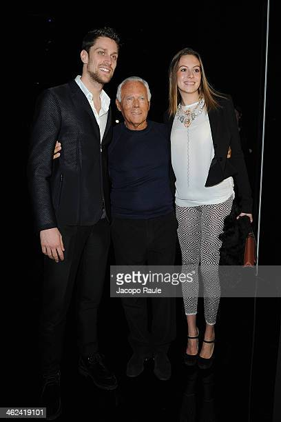 Luca Dotto Giorgio Armani and guest attend the Emporio Armani show as a part of Milan Fashion Week Menswear Autumn/Winter 2014 on January 13 2014 in...