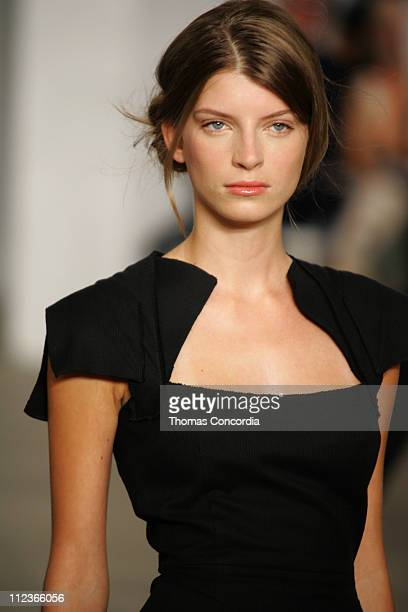 Luca Gadjus wearing Roland Mouret Spring 2006 during Olympus Fashion Week Spring 2006 Roland Mouret Runway at To Be Determined in New York City New...
