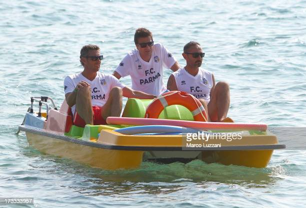 Luca Gotti Giovanni Andreini and Luca Bucci of Parma FC during a Parma FC PreSeason Training Session at Rosa Marina Resort on July 12 2013 in Ostuni...