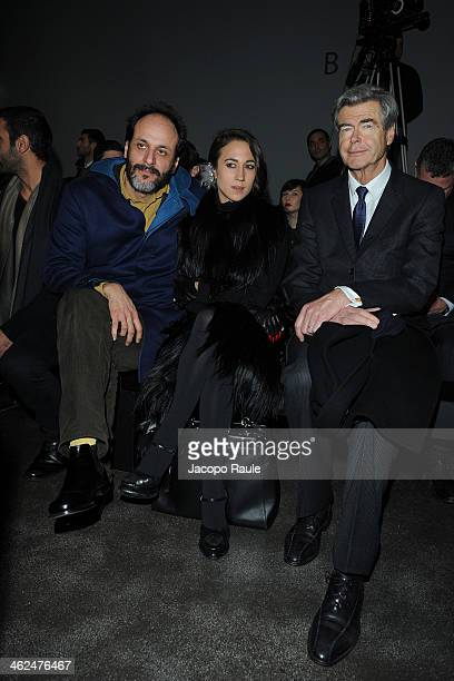 Luca Guadagnino and Delfina Delettrez Fendi attend the Fendi show as a part of Milan Fashion Week Menswear Autumn/Winter 2014 on January 13 2014 in...