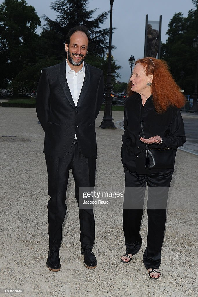 Luca Guadagnino and Grace Coddington arrive at 'The Glory Of Water' : Karl Lagerfeld's Exhibition Dinner at Fendi on July 3, 2013 in Paris, France.