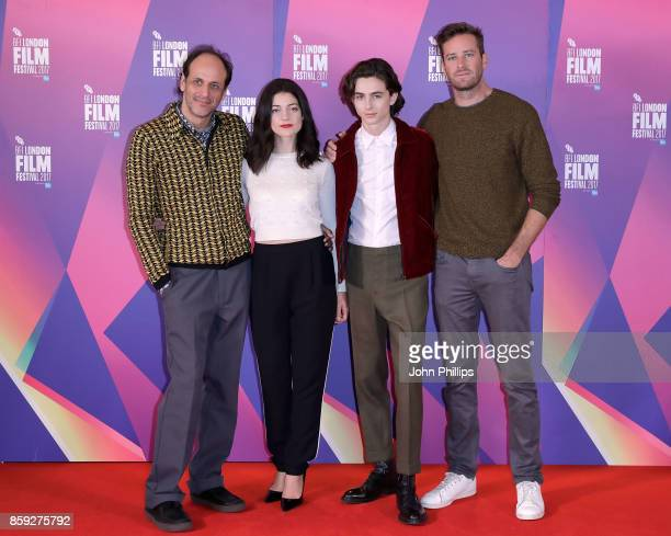 Luca Guadagnino Esther Garrel Timothee Chalamet and Armie Hammer attend a photocall for 'Call Me By Your Name' during the 61st BFI London Film...