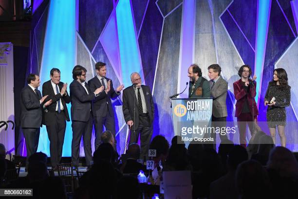 Luca Guadagnino speaks onstage with the cast of 'Call Me By Your Name' during IFP's 27th Annual Gotham Independent Film Awards on November 27 2017 in...