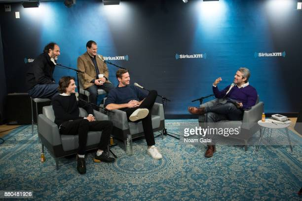 Luca Guadagnino Timothee Chalamet Michael Stuhlbarg and Armie Hammer speak with host Andy Cohen during a visit to the SiriusXM Studios on November 27...