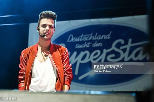 Luca Haenni performs live on stage during the 'DSDS Deutschland sucht den Superstar' concert at Wiener Stadthalle on July 27 2014 in Vienna Austria