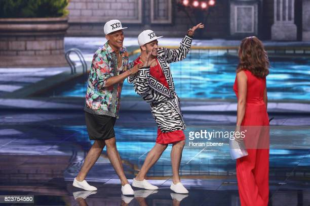 Luca Haenni Prince Damien and Nazan Eckes perform on stage during the 1st show of the television competition 'Dance Dance Dance' on July 12 2017 in...