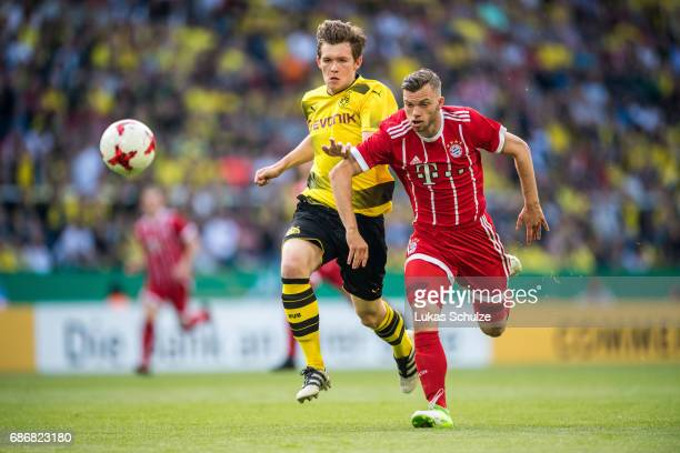 Luca Kilian of Dortmund and Manuel Wintzheimer of Munich fight for the ball during the U19 German Championship Final between Borussia Dortmund and FC...